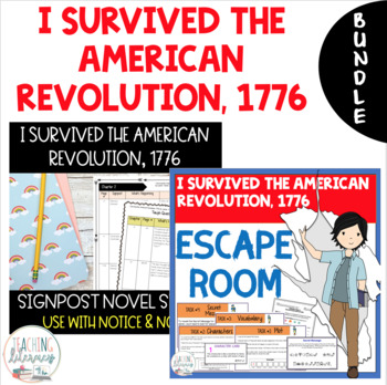 BUNDLE- I Survived the American Revolution-Notice & Note Novel Study+Escape Room
