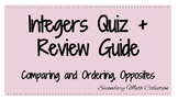 BUNDLE! Integers Quiz + Review (Comparing + Ordering Integers, Opposites)