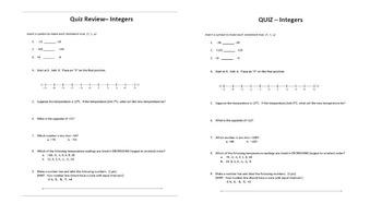 BUNDLE! Integers Quiz + Review (Comparing + Ordering Integers, Opposites)