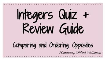 BUNDLE! Integers Quiz + Review (Comparing + Ordering Integ