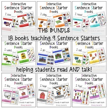 BUNDLE Interactive / Adapted Sentence Starter Books - special education