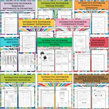 BUNDLE Interactive Notebook Note Pages 12 Separate Lessons