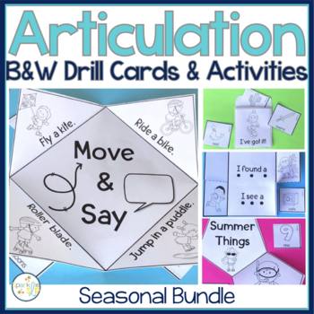 Speech Sound Interactive Notebook Activities ALL YEAR & Artic Cards BUNDLE
