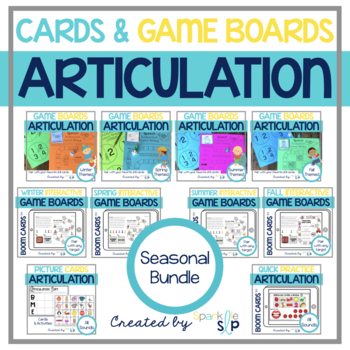 Speech Sound Game Boards ALL YEAR and Articulation Picture Cards:  BUNDLE