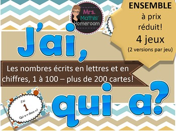 BUNDLE J'ai, qui a - Les nombres en lettres et en chiffres (1 à 100) 4 JEUX!