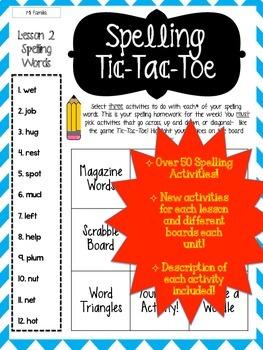 BUNDLE* Journey's Grade 2 Lessons 1-30 Spelling Tic-Tac-Toe 50+ Activity Pack!