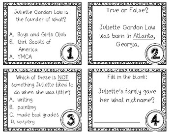 BUNDLE Juliette Gordon Low: PebbleGO Research It & SCOOT Task Cards