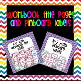 BUNDLE! K-2 Maths Workbook Title Pages + Pinboard Labels