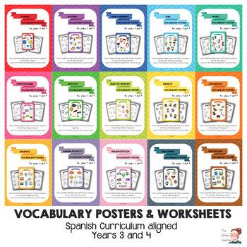BUNDLE - Key vocabulary posters for Y3 & 4 ESL Spain