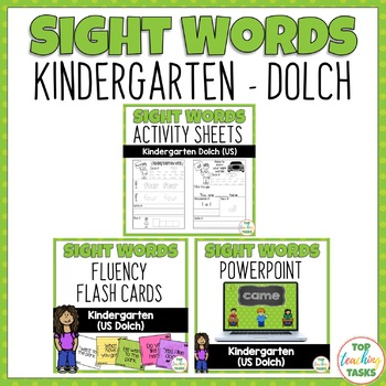 Kindergarten Dolch Activity Sheets, PowerPoint, Flash Cards Bundle