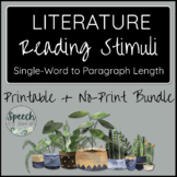 BUNDLE LITERATURE Printable and No Print Reading Cards for