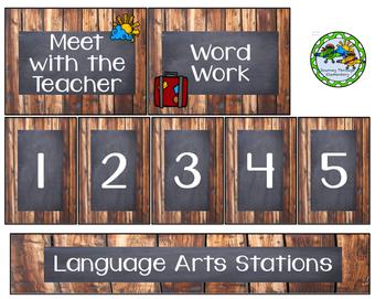 BUNDLE Language Arts and Math Station Labels
