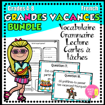 BUNDLE - Les grandes vacances (120 pages) - exercices, cartes des questions, PPT