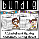 BUNDLE Letter & Number Formation Sheets: Tracing the Alphabet & Numbers 1-20