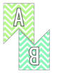 BUNDLE Letter Number Pennants Flags - Chevron 11 Colors - Word Wall