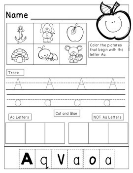 BUNDLE -- Picture Sorts and Worksheets [letter sounds, recognition, handwriting]