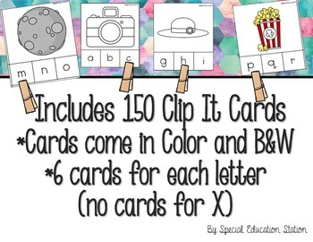 *BUNDLE* Letters A-Z Beginning Sounds Clip It {A Beginning Work Task)