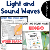 BUNDLE - Light and Sound Waves - Bingo & 3 Word Searches! NGSS