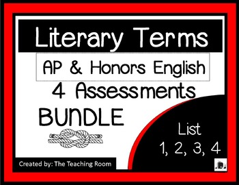 Literary Terms BUNDLE List 1-4 (AP & Honors English)