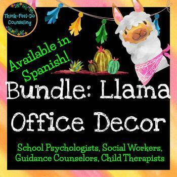BUNDLE: Llama Counseling Office Decor - Available in Spanish!