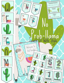 BUNDLE Llama and Cactus Welcome Banner and Decor, No Prob Llama UPDATED