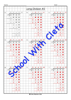 BUNDLE: Long Division (4 Digit Dividends With 2 to 9 As The Divisors) Worksheets