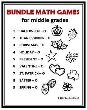 BUNDLE MATH GAMES for Middle Grades