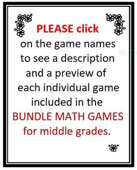 BUNDLE MATH GAMES for Middle Grades