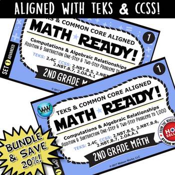 BUNDLE ~ MATH READY 2nd Grade Task Cards - Addition & Subtraction to 1,000