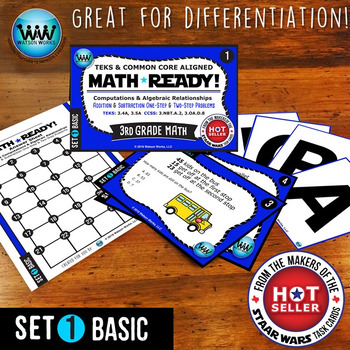 BUNDLE~ MATH READY 3rd Grade Task Cards: Add & Subtract 1-Step & 2-Step Problems
