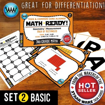 BUNDLE ~ MATH READY 3rd Grade Task Cards – Area of Rectangles