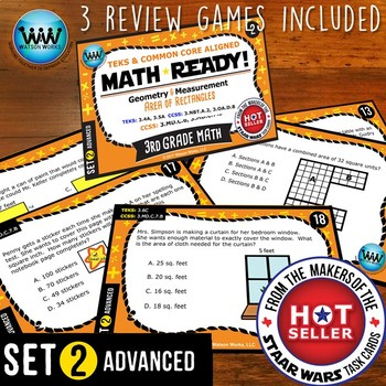 BUNDLE ~ MATH READY 3rd Grade Task Cards – Area of Rectangles {TEKS-aligned}