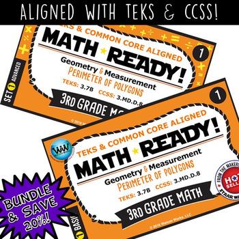 BUNDLE ~ MATH READY 3rd Grade Task Cards – Perimeter of Polygons {TEKS-aligned}
