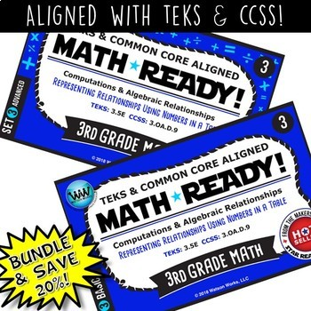 3.5E BUNDLE 3rd Grade Math Task Cards – Representing Relationships in a Table