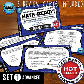 BUNDLE ~ MATH READY 4th Grade Task Cards – Add/Subtract Whole Numbers & Decimals