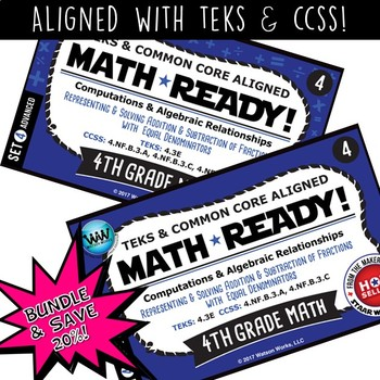 BUNDLE ~ MATH READY 4th Grade Task Cards – Adding & Subtracting Fractions