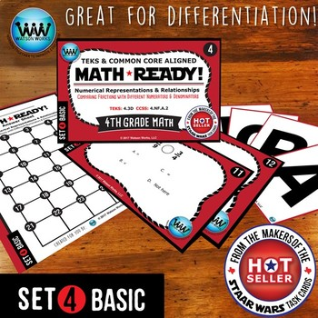 BUNDLE ~ MATH READY 4th Grade Task Cards – Comparing Fractions