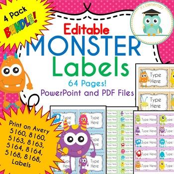 BUNDLE MONSTER Labels Classroom Notebook Folder Name Tags (Editable)