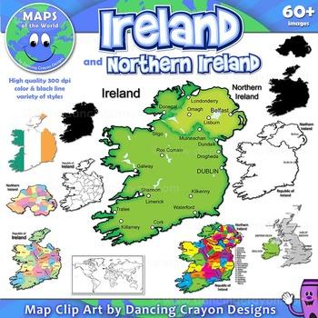 Maps of United Kingdom and Ireland (BUNDLE): Clip Art Maps