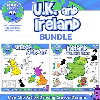 Map Of Uk Ireland.Maps Of United Kingdom And Ireland Bundle Clip Art Maps