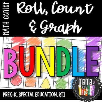 BUNDLE: Math Centers, Roll, Color, Count & Graph, Prek-1