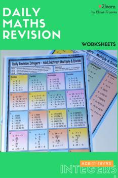 BUNDLE Math INTEGERS Revision Worksheets -FULL SET Add Subtract Multiply etc