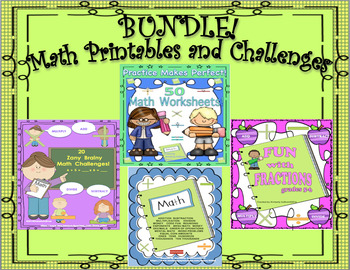 BUNDLE! Math Printables  No Prep!  Challenges and Fractions!