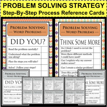 BUNDLE Math Problem Solving Word Problem Strategy Plans Checklist Charts