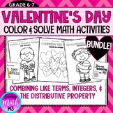 BUNDLE: Math Valentine's Day Color and Solve Activities