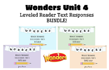 BUNDLE! McGraw-Hill Wonders Leveled Readers DIGITAL Text Responses-UNIT4-GRADE 5
