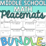 BUNDLE- Middle School Math Placemats Activities  (DIGITAL+