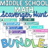BUNDLE- Middle School Math Scavenger Hunts (DIGITAL + PRINTABLE)