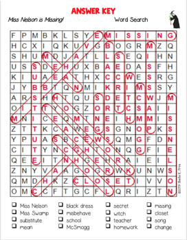 Miss Nelson is Missing and Miss Nelson is Back Word Search BUNDLE