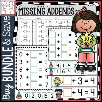 BUNDLE: Missing Addends Worksheets